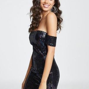 Guess Dresses - GUESS: Athena Off-The-Shoulder Sequin Dress_Small